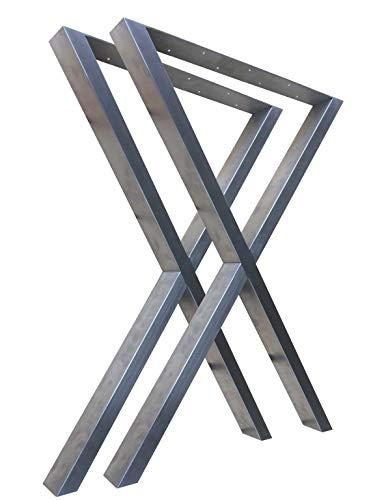 CHYRKA X-Tischkufe Tischbein Tischfuß Tischgestell Edelstahl 201 60x30 Rahmentisch Kufengestell (720x500 mm - 1 Paar)