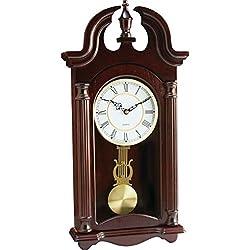 BNFUSA HHWC46 Kassel Quartz Pendulum Wood Frame Wall Clock Plays Melody