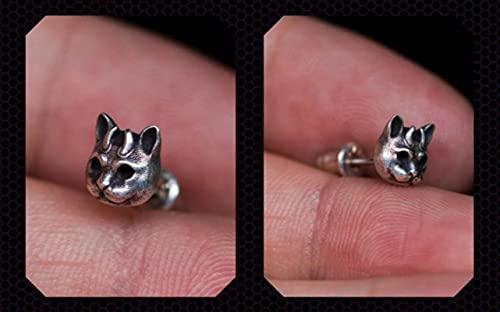 liuliu Pendientes Vintage Color Plata Hells Cat Devil Horn Cat Stud Pendientes para Mujeres Hombres Pendiente gótico Mini Pendiente Joyería de Fiesta