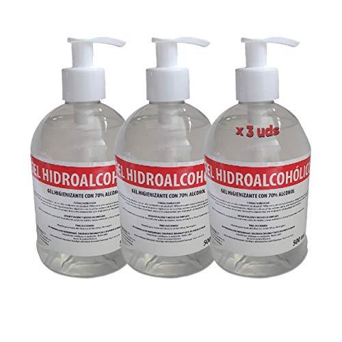Gel Hidroalcohólico 500 ml 70% alcohol con dosificador [3 Unidades] Fabricado en España