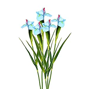 Silk Flower Arrangements FXforer 5Pcs Artificial Iris Flower Bouquet,23inch Simulated Real Touch Ireland Iris Flowers,Fake Plant Silk Flower Branches for Home Office Wedding Party DIY Flower Decor