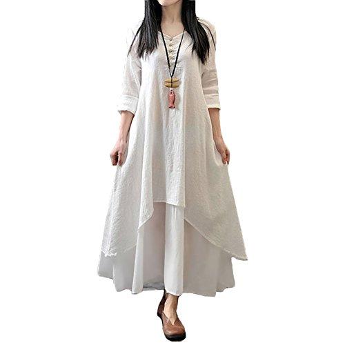 Romacci Damen Beiläufige Lose Kleid Fest Langarm Boho Lang Maxi Kleid S-5XL Schwarz/Weiß/Rot/Gelb, Weiß, XL