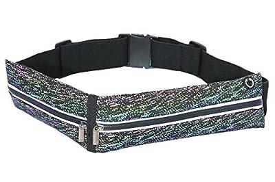 Slimfit Running Pouch Belt, No-Bounce Waist Bag for Runners Men and Women Waterproof Jogging Pocket Belt for Phone Dual Pocket Running Fanny Pack Reflective Running Gear (Colorful-dot)