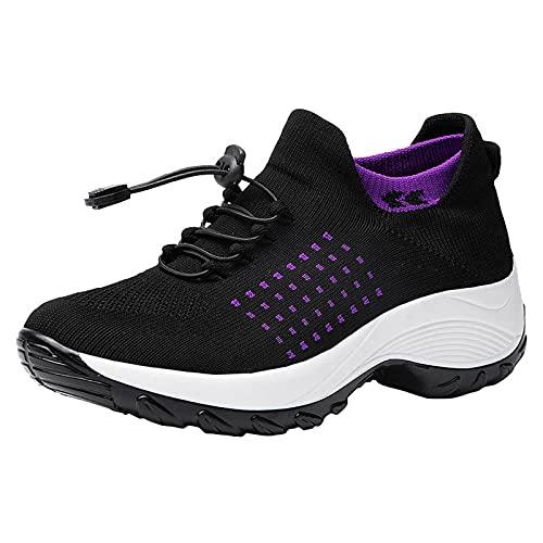 Senza Lacci Sneakers Donna Scarpe da Ginnastica Scarpe Running Leggere Traspirante Tessuto Casual Slip on Scarpe Sportive (A55-Purple,37)