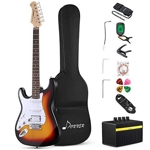 Donner Guitarra Eléctrica para zurdos de tamaño completo de 39 pulgadas con amplificador, bolsa, capo, correa, cuerda, sintonizador, cable y púas (Sunburst, DST-100SL)