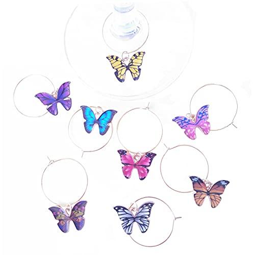 Ciondoli in Vetro di Vino A Farfalla, Set di 8, Regalo per La Festa di Compleanno di Matrimonio