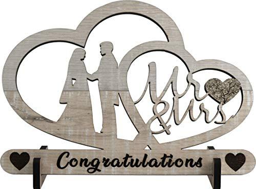 XL Glückwunschkarte aus Holz (Laminat) - Geschenk für ein Brautpaar – Mr & Mrs