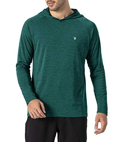 donhobo Camiseta de running para hombre, transpirable, con capucha, manga larga, elástica, para gimnasio, running verde XL
