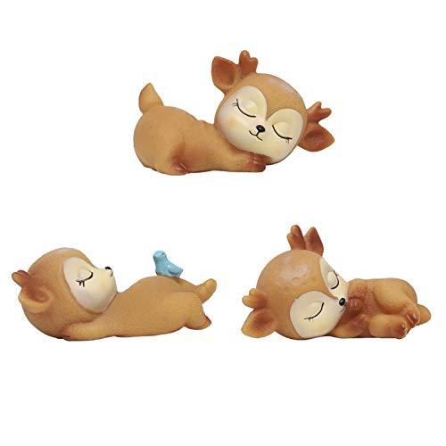 sweetrl 3 piezas miniatura adornos animales lindos ciervos figuras juguetes kawaii dormir bebé decoración para el hogar tienda oficina mesa pantalla
