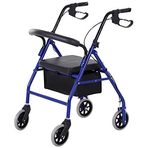 HOMCOM Rollator mit Stuhl, Faltbarer Gehwagen, Gehhilfe, Mobilität, mit Tasche, Bremse, 4-stufig verstellbare Griffe, Leichtgewicht, Metall Schwarz 75 x 56 x 83-93 cm