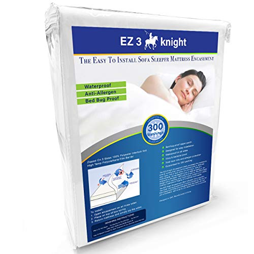 EZ3 Knight Sofa Mattress Encasement - Quality Mattress Protector Designed with 100% Waterproof, Virus & Bacteria Proof, Hypoallergenic Poly-Knit Material (Queen Sofa Sleeper 60x72x5)