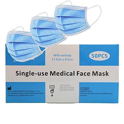 50 St. Medizinische Einweg Mundschutzmasken OP Maske TYP I 3-Lagig EN 14683 Konformität nach EN 14683 Geprüft durch TÜV SÜD