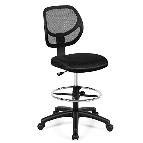 Giantex Mesh Drafting Chair, Standing Desk Chair w/Footrest Ring, Adjustable Height Chair Mid Back Tall Office Chair for Home Office, Black