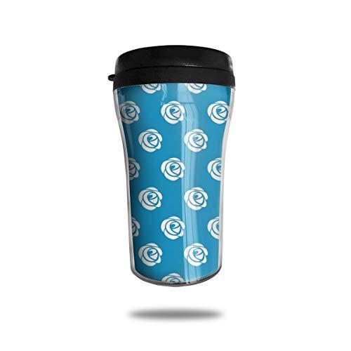 Kaffeebecher mit Rosenmuster, wiederverwendbar, umweltfreundlich, auslaufsicher, langlebig für heiße Getränke, Reisen, Wandern