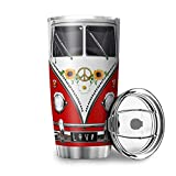 Taza de viaje con tapa, diseño hippie de coche, de doble pared, de acero inoxidable, diseño 3D, reutilizable, aislante, color blanco, 600 ml