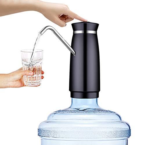 INEP Wasserflasche Pumpe, USB wiederaufladbare tragbare elektrische Trinkwasserflasche Pumpspender (für 2-5-Gallonen-Wasserflaschen) für Küchenbüro Camping,Schwarz