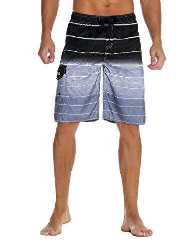 Nonwe Men's Beachwear Quick Dry Holiday Drawstring Striped Beach Shorts Gray 36