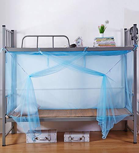 Emmala klamboe voor eenpersoonsbed met klamboe voor casual chic studenten, Dormitorio Yurt Superior en informatie met ritssluiting (kleur blauw maat 2,2 x 1,8 x 1,9 m)