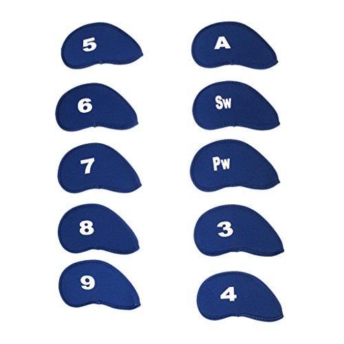 HomeDecTime 10 Piezas Universal Golf Club Protector de Cabeza de Hierro Cuña Calcetín Headcover Apto para Mizuno - Azul