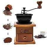 Molinillo de café manual de madera antigua con ajuste de engranaje ajustable para casa, oficina y viajes de oficina