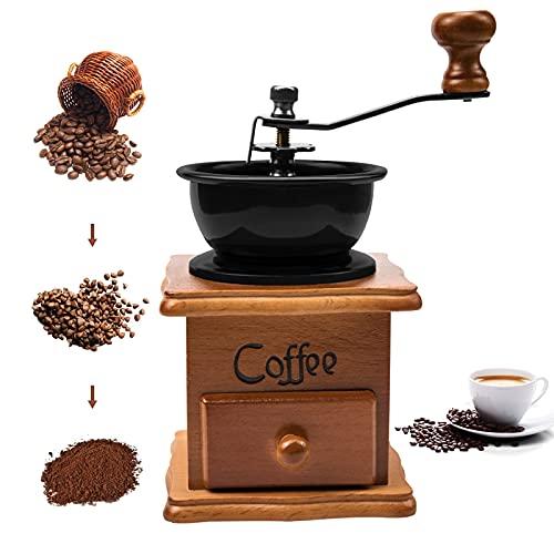 Moulin à café manuel vintage en bois vieilli avec réglage de l'engrenage réglable pour la maison, le bureau et les voyages Office