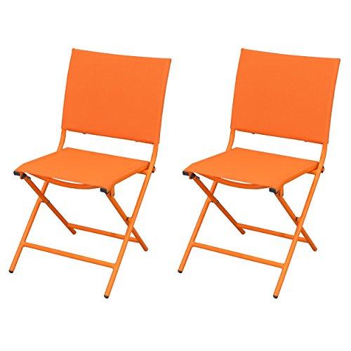 Rendez vous déco - Chaise Bali Orange (Lot de 2)