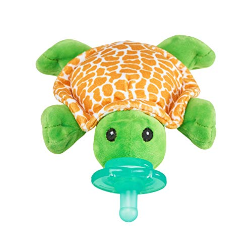 Nookums Paci-Plushies Shakies - Pacifier Holder with Built in Rattle (2 in 1)- Adapts to Name Brand Pacifiers, Suitable for All Ages, Plush Toy Includes Detachable Pacifier (Turtle)