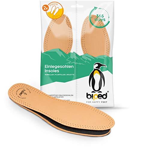 biped 2 paires de semelles intérieures en cuir avec charbon actif, semelles en cuir contre la transpiration des pieds, souple pour chaussures femme et homme z2763 (38)