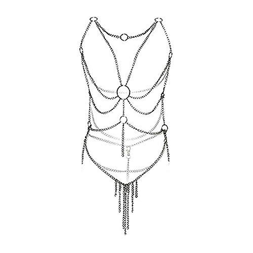nobrand Trendy Damen Sexy Metall Silber Kette Wäsche Voll aushöhlen Körper Kreuz
