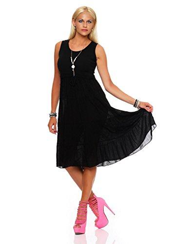 Zarmexx Damen Sommerkleid Volant langes Empire Kleid knielanges Strandkleid
