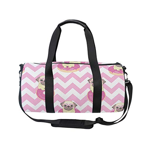 TropicalLife RELEESSS Sports Gym Bag Funny Pug Dog Lightweight Travel Duffel Bag Holdall Bag Multipurpose Use for Men Women