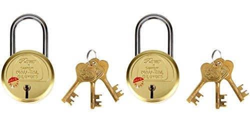 Koyo Super Nau-Tal KSNTLS_50 6 Levers 50mm Brass Padlock with Key (Pack of 2)