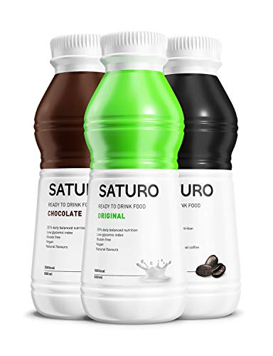 Meal Replacement Shakes SATURO (Chocolate, Original, Coffee), Complete Nutritional Drink with Protein, 500 kcal, Gluten-Free, Vegan, Pack of 18