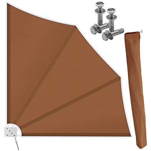 Kesser® Balkonfächer klappbar mit Wandhalterung | 140x140cm | Sichtschutz Balkon Windschutz | Balkonsichtschutz | Seitenmarkise | witterungsbeständig | inkl. Montagematerial | Braun