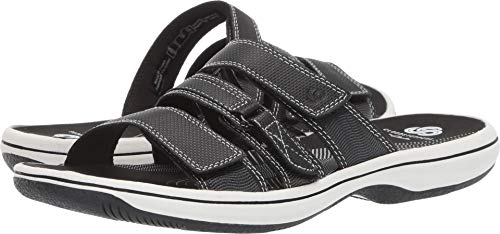 Clarks Women's Brinkley Coast Slide Sandal, black synthetic, 8 M US