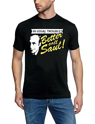 Coole-Fun-T-Shirts Uni Legal Troube Better Call Saul Heisenberg T-Shirt, Schwarz, XL