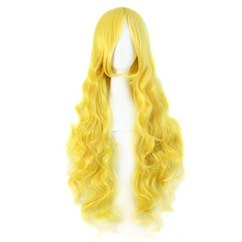 """MapofBeauty 32"""" 80cm Long Hair Spiral Curly Cosplay Costume Wig (Yellow)"""
