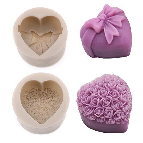 NC Stampi per Sapone in Silicone,2 Pezzi Mousse di Rose 3D Stampo in Silicone, per Torta Stampo a Forma di Cuore Stampo per Sapone per Matrimonio Baby Shower Natale Regalo per Feste Fai da Te