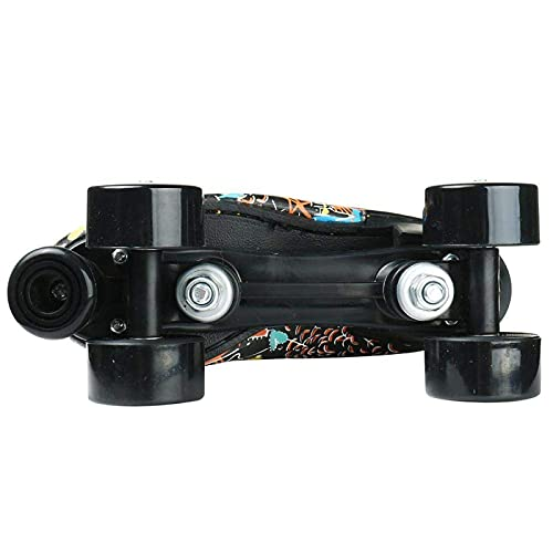 litulituhallo Womens Graffiti Roller Skates with Shiny Four Wheel Classic High Top Adustable Pu Leather Black Size 7
