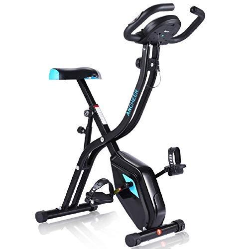 ANCHEER Bicicleta Estática Plegable Bicicleta de Ejercicio 10 Niveles de Resistencia Magnética, con App, Soporte para Tableta Capacidad de Peso:120kg (Negro Nueva)