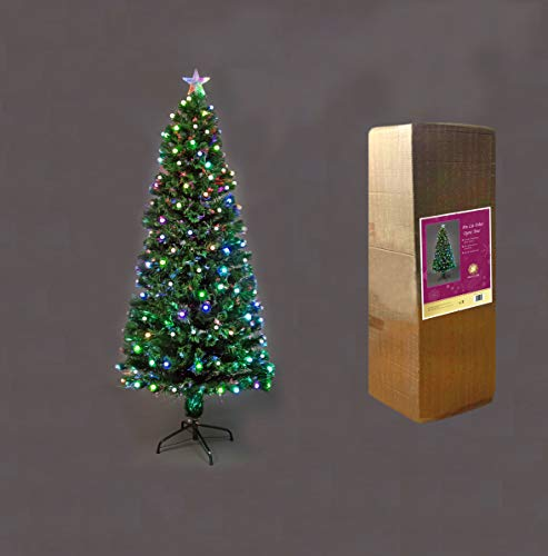 SHATCHI Berries LED Pre-Lit Fibre Optic Christmas Tree Various Multicolour Light Effects Holiday Xmas Home Decorations (2Ft/3Ft/4Ft/5Ft/6Ft), Green, 3Ft