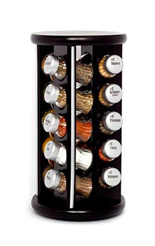 Gald Gewürzregal, Gewürzkarussell für Gewürze und Kräuter, 20 Gläser, Holz, Venge (schwarz)/matt, 18.5 x 35.5 x 18.5 cm