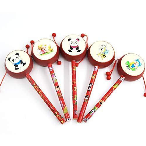 KGWSWE Raquitismo de madera tradicional ondulado sonajero de madera para bebé instrumento musical beneficio de juguetes de inteligencia (color: sonajero de madera)