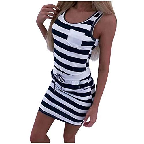 Ansenesna Kleid Damen Sommer Streifen Kurz Elegant Sommerkleid Frauen Gestreift Ärmellos Mini Kleider (Schwarz,S)