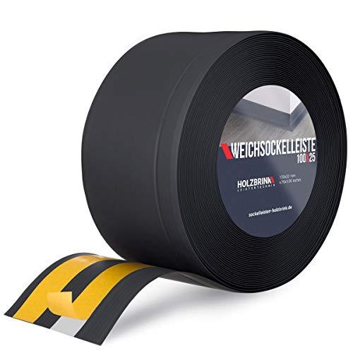 HOLZBRINK Weichsockelleiste selbstklebend Schwarz Knickleiste, Material: PVC, 100x25mm, 10 Meter
