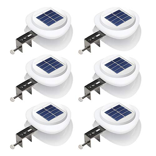DBF Outdoor Solar Gutter Lights【Upgraded Version】Solar Fence Post Lights Wall Mount Decorative Deck Lighting Auto On/Off Solar Landscape Lights for Eaves Yard Garden Highlight Gate (Pack of 6)