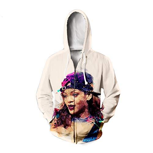Rihanna Pullover Freizeit-Shirt Karikatur-Druck Pullover Breathable Jacken Langarm Coats All-Match Pullover modischer Entwurf Outwear Unisex Unisex (Color : B02, Size : S)