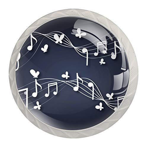 Notas musicales con botones de cristal Butterlfy con tiradores para cajón, con tornillos, para casa, oficina, dormitorio, sala de estar, baño con tornillos