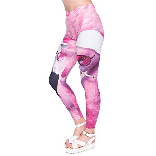 Serie Frauen Las Vegas Flamingo Druckleggings Gemütliche Hose mit hoher Taille