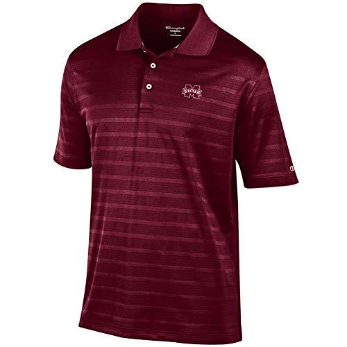 Champion Mississippi State Bulldogs Men's Polo Textured Solid Polo (Small)